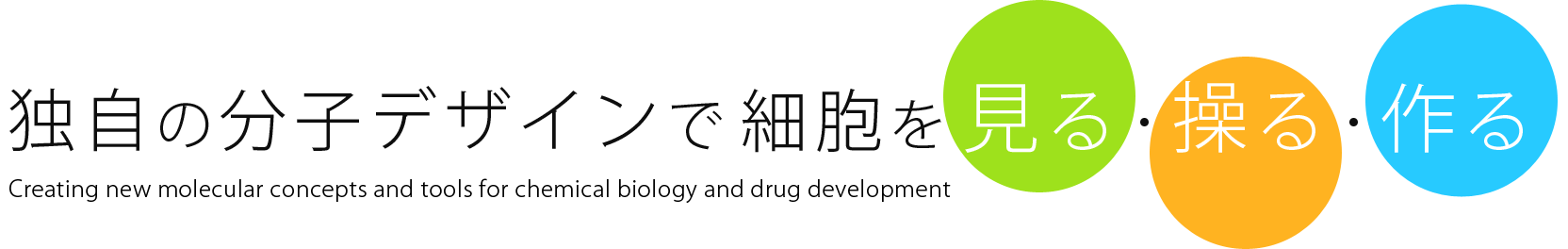 独自の分子デザインで細胞を見る・操る・作る / Creating new molecular concepts and tools for chemical biology and drug development